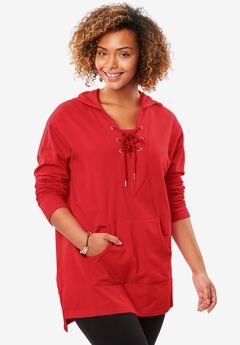 Lace-up hooded sweatshirt tunic, HOT RED, hi-res