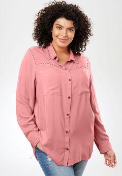 Studded Button-Down Shirt, DESERT ROSE, hi-res