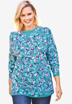 Thermal Sweatshirt, SOFT AQUA DANCING FLORAL