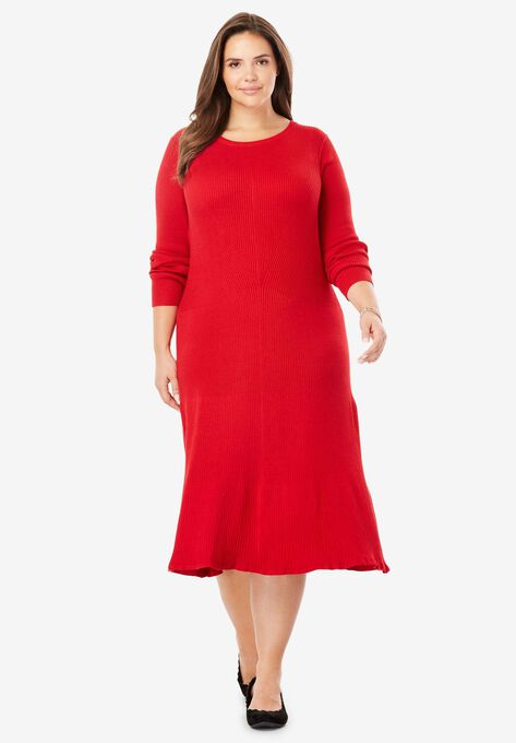 Rib Knit Sweater Dress Plus Size Casual Dresses Woman Within