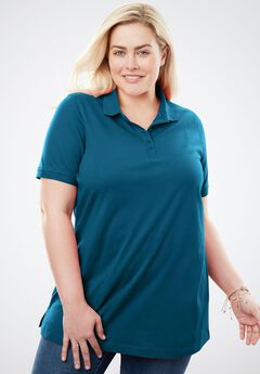 Perfect Short Sleeve Polo Tee, BLUE TEAL
