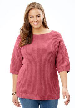 Square Neck Pullover Sweater,