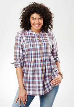 Perfect Pintuck Shirt, CHERRY PLAID