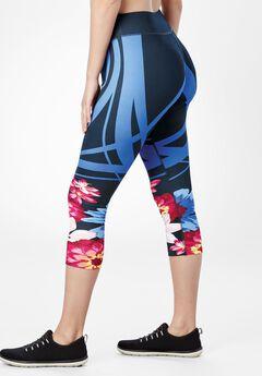 Ombre Capri Legging by fullbeauty SPORT®, BLACK MULTI FLOWER