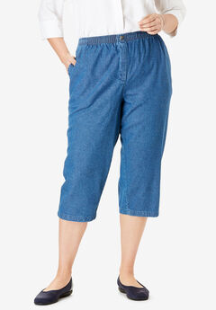 Elastic-Waist Cotton Capri, MEDIUM STONEWASH