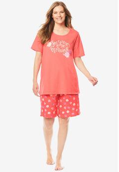 Knit PJ Short Set, SWEET CORAL SHELLS