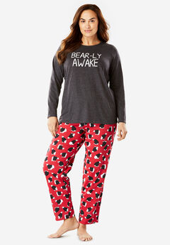 Holiday Print PJ Set by Dreams & Co.®, CLASSIC RED POLAR BEAR