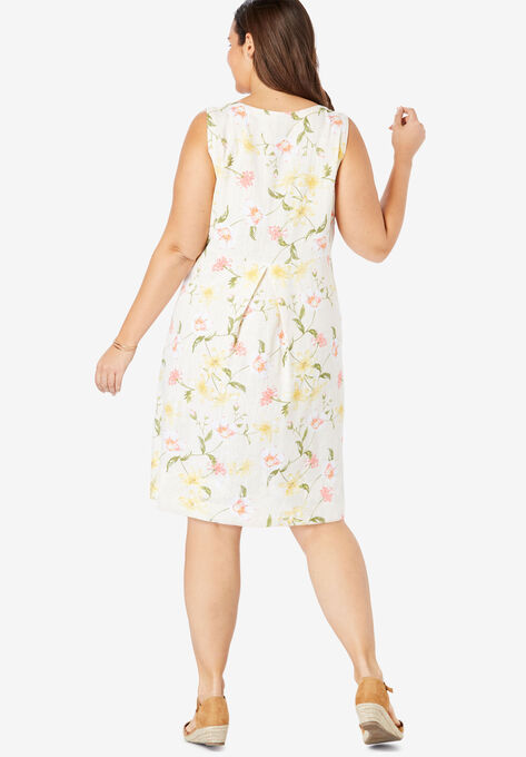 Pocketed Sleeveless Linen Dress| Plus Size Midi Dresses
