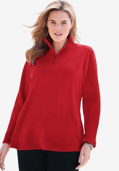 Quarter-Zip Microfleece Pullover, CLASSIC RED