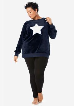 Plush Graphic Sweatshirt by Dreams & Co.®, NAVY STAR