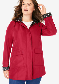 Raincoat in new short length with fun dot trim,