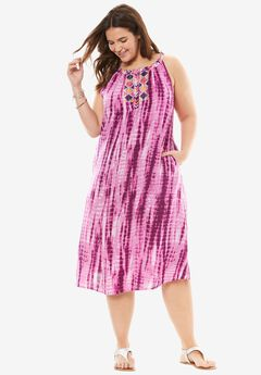 Split-Neck Embroidered Midi Dress, ORCHID PINK TIE DYE, hi-res