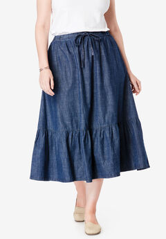 Drawstring Chambray Skirt,