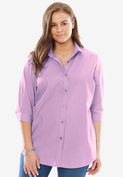 Perfect Three-Quarter Sleeve Print Button Down Shirt, ORCHID PINK, hi-res