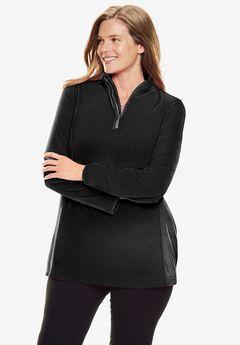 Microfleece Quarter-Zip Pullover, BLACK