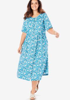 Button-Front Essential Dress, LAGUNA BLUE FLORAL VINE