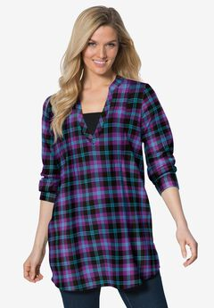 Flannel Tunic With Layered Look, MIDNIGHT PLUM PLAID