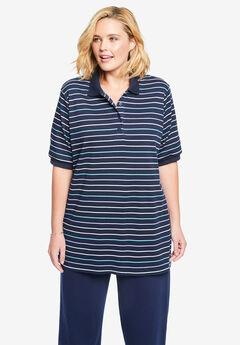 Elbow-Sleeve Tunic Polo Shirt, NAVY MINI STRIPE