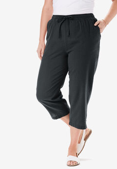 Seersucker capri pants, BLACK, hi-res