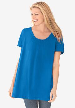 Perfect Short-Sleeve Shirred U-Neck Tunic, BRIGHT COBALT