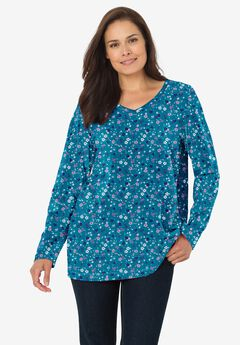 Perfect Printed Long-Sleeve V-Neck Tee, DEEP TEAL LOVELY DITSY