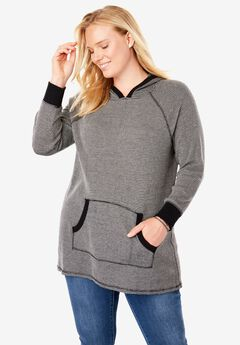 Washed Thermal Hooded Sweatshirt, BLACK WHITE TWO TONE