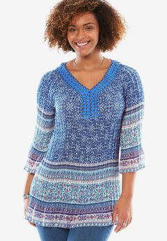 Pleated popover blouse with 3/4 sleeves, BLUE STAMPED BORDER, hi-res