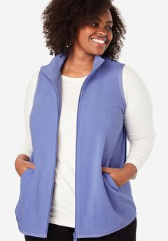 Zip-Front Microfleece Vest, FRENCH LILAC