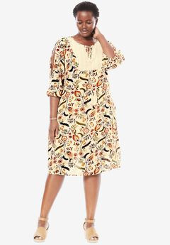 Crochet Bib Dress, LIGHT PEACH FOLK FLORAL, hi-res