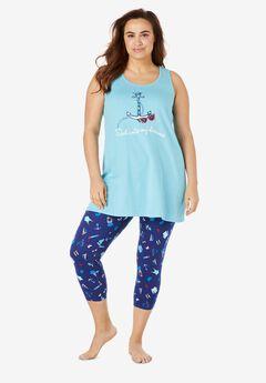 Scoopneck Tank & Capri Legging PJ Set by Dreams & Co.®, EVENING BLUE SAILING