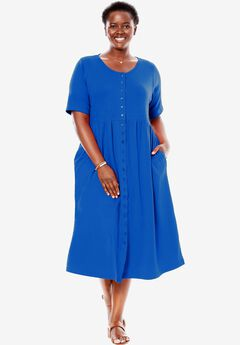 Empire knit dress by Only Necessities®, TWILIGHT BLUE, hi-res