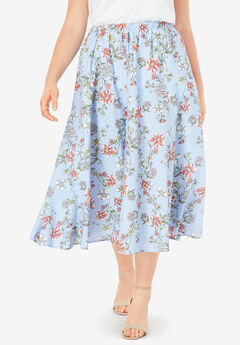 Linen-Blend Midi Skirt,
