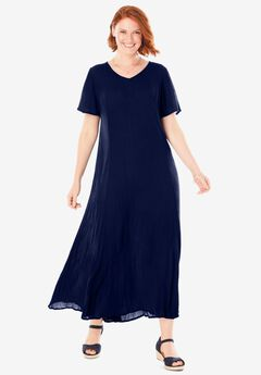 Crinkle Dress, NAVY