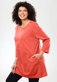 Pocketed Tunic Sweatshirt with Rolled Sleeves, SAHARA ORANGE, hi-res