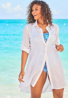 Button-Front Swim Cover Up ,