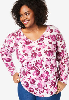 Long Sleeve V-Neck Thermal Tee, DEEP CRANBERRY GRAPHIC CAMELLIA