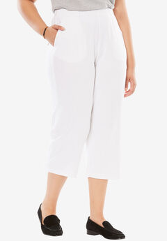 7-Day Knit Capri, WHITE, hi-res