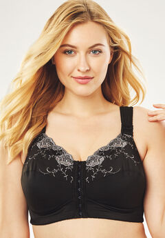 Front-Close Embroidered Wireless Posture Bra by Comfort Choice®, BLACK