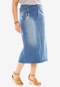 Front Slit Stretch Jean Skirt,