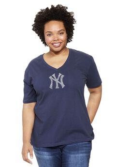 MLB® V-neck cotton tee , YANKEES, hi-res