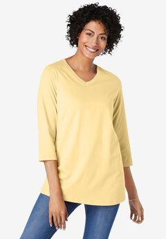 Perfect Three-Quarter Sleeve V-Neck Tunic, BANANA