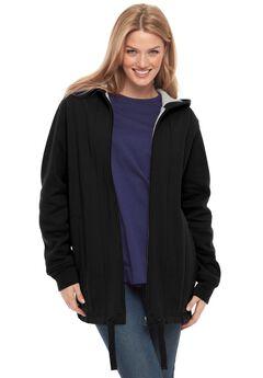 Drawstring-Hem Hooded Fleece Jacket, BLACK, hi-res