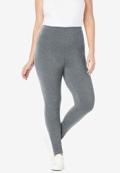 Stretch Cotton Legging, MEDIUM HEATHER GREY
