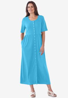 Button-Front Essential Dress, PARADISE BLUE