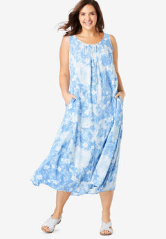A-Line Sleeveless Crinkle Dress, BLUE DELICATE FLORAL