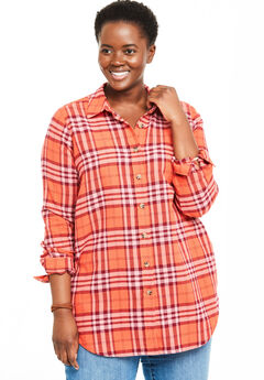 Classic Flannel Shirt, SAHARA ORANGE PLAID
