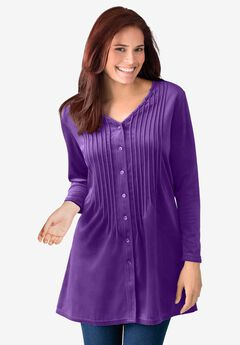 Knit velour tunic shirt in a comfortable A-line with pintucks,