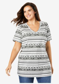 Perfect Printed V-Neck Tee, BLACK WHITE BATIK STRIPE