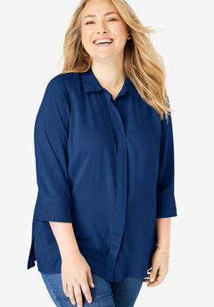Elbow Sleeve A-Line Blouse,