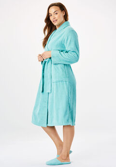 Short Terry Robe with FREE Matching Slippers by Dreams & Co®, AZURE, hi-res